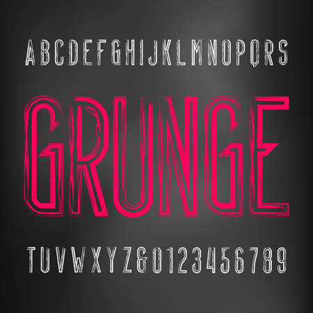 Grunge alphabet font. Messy uppercase condensed letters and numbers. Vector typescript for your typography design.
