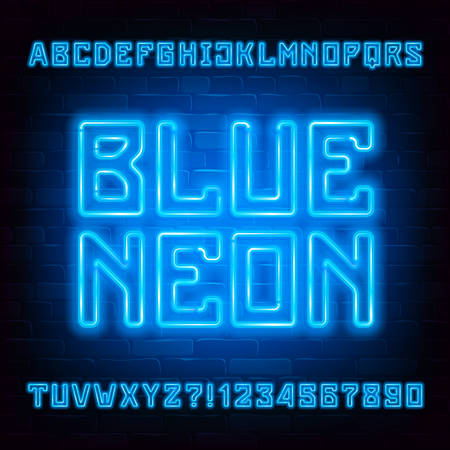Blue Neon alphabet font. Neon light geometric letters and numbers on brick wall background. Stock vector typeface for your typography design. Иллюстрация