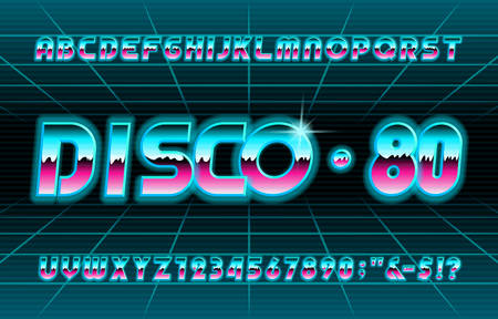 Disco 80 alphabet font. Shine letters and numbers. Stock vector typescript for your typography in retro 80s style.
