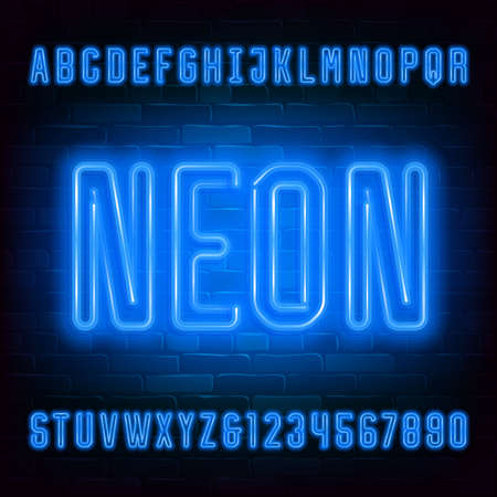 Neon alphabet font. Blue neon light capital letters and numbers on brick wall background. Stock vector typeface for your typography design.