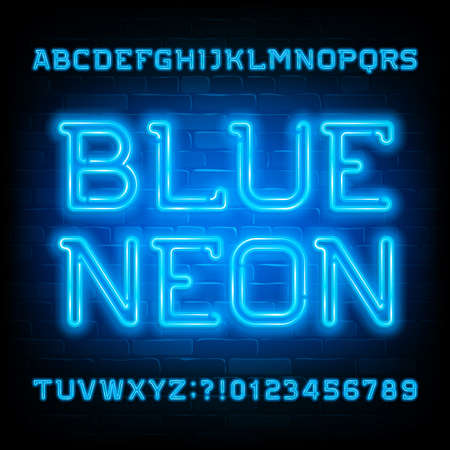 Blue Neon alphabet font. Neon light modern letters and numbers on brick wall background. Stock vector typeface for your typography design.
