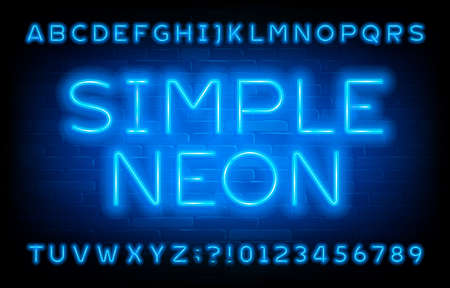 Simple Neon alphabet font. Blue neon light letters and numbers on brick wall background. Stock vector typescript for your typography design.