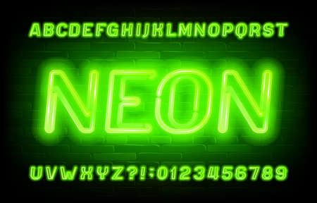Neon alphabet font. Green neon light letters and numbers on brick wall background. Stock vector typescript for your typography design.