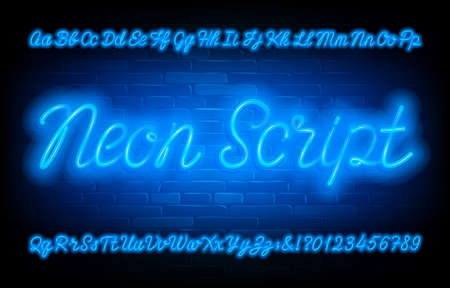 Neon Script alphabet font. Blue neon light uppercase and lowercase letters and numbers on brick wall background. Stock vector typescript for your typography design. Иллюстрация