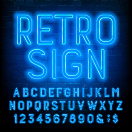Retro Sign alphabet font. Blue neon light letters and numbers on brick wall background. Stock vector typescript for your typography design.