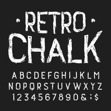 Retro Chalk alphabet font. Handwritten messy letters and numbers.