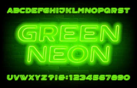 Green Neon alphabet font. Neon light oblique letters and numbers on brick wall background.