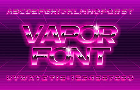 Vapor alphabet font. Glow letters and numbers in 80s style.
