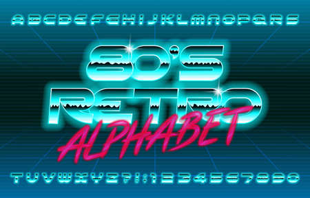 80s Retro alphabet font. Glowing oblique letters and numbers. Stock vector typescript for your typography design.