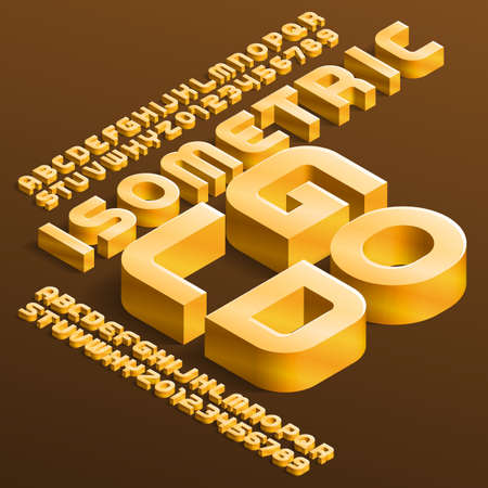 Isometric Gold alphabet font. 3D golden letters and numbers with shadow. Stock vector typescript for your design.