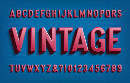 Vintage alphabet font. 3D letters and numbers in 50s style. Vector typescript for your typography design.