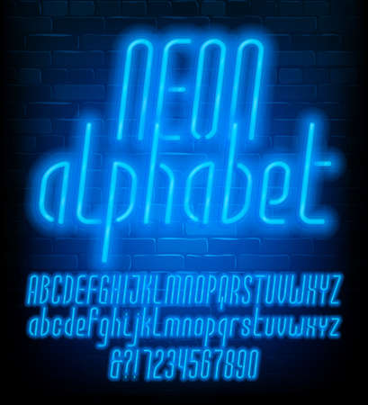 Neon alphabet font. Uppercase and lowercase narrow letters. Blue neon light letters and numbers. Brick wall background. Stock vector typescript for your typography design. Иллюстрация