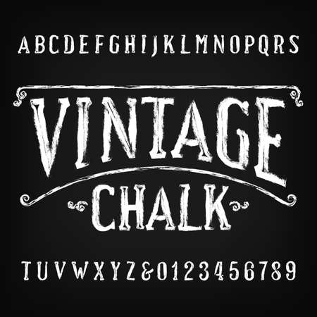 Vintage Chalk alphabet font. Handwritten messy letters and numbers. Stock vector typescript.