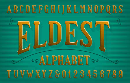 Eldest alphabet font. Vintage letters and numbers. Vector typescript for your typography design.