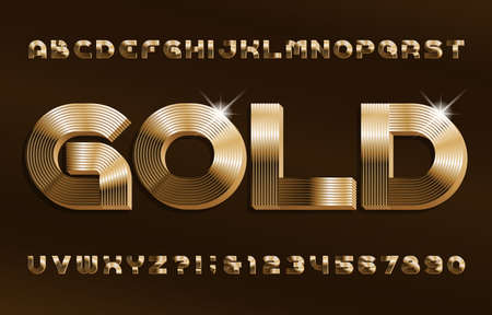 3D Gold alphabet font. Shiny golden letters and numbers in 70s style. Stock vector typescript for your design. Illustration