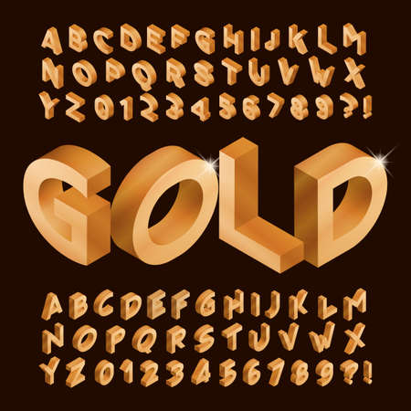 Gold alphabet font. Isometric golden letters and numbers. Stock vector typeface for your typography design.