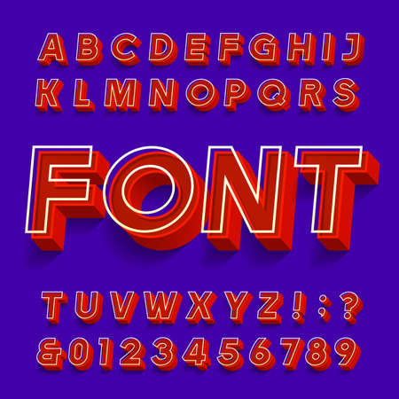 3D font. 3d effect oblique letters and numbers with shadows. Stock vector alphabet typescript for your typography design. Иллюстрация