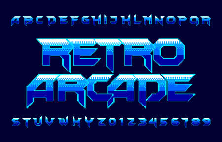 Retro Arcade alphabet font. Pixel gradient letters and numbers. 80s video game typescript.