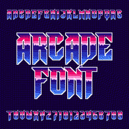 Arcade alphabet font. Pixel letters and numbers in heavy metal style. 80s retro video game typeface.
