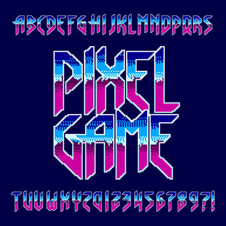 Pixel Game alphabet font. Retro digital letters and numbers in hard rock style. 80s arcade video game typescript. Иллюстрация
