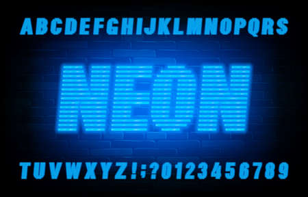 Neon line alphabet font. Blue neon light letters and numbers on brick wall background. Stock vector typescript for your typography design.