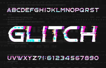 Glitch alphabet font. Digital distort letters and numbers on glitched background. Vector typeface for your design.  イラスト・ベクター素材