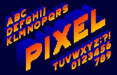3D Pixel alphabet font. Isometric letters and numbers. 80s arcade video game typescript.
