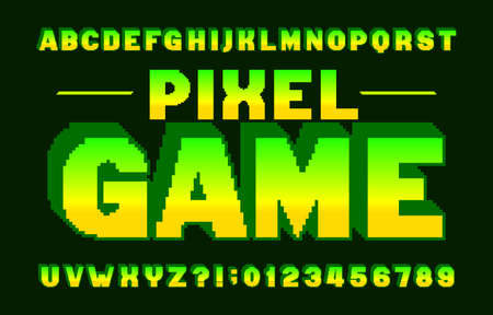 Pixel Game alphabet font. 3D pixel letters and numbers. 80s arcade video game typescript.