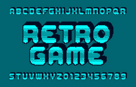 Retro Game alphabet font. 3D pixel letters and numbers. 80s arcade video game typeface. Çizim