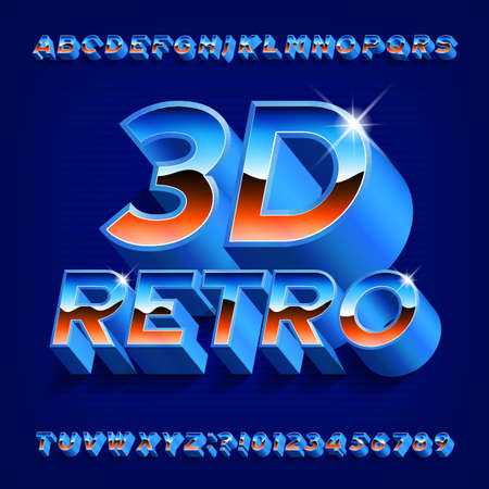 3D Retro alphabet font. Shining letters and numbers with shadow in 80s style. Stock vector typeface for your typography design.