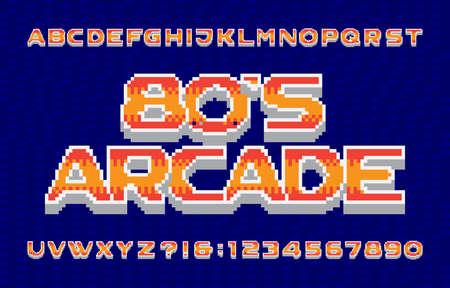 80s arcade alphabet font. 3D pixel letters, numbers and symbols. 80s video game typescript. Иллюстрация