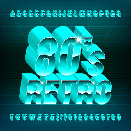 80s Retro alphabet font. 3D letters and numbers in 80s style. Stock vector typescript for your typography design.