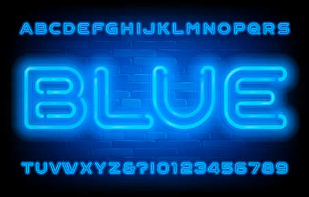 Blue Neon alphabet font. Neon light letters, numbers and symbols on brick wall background. Stock vector typescript for your typography design.