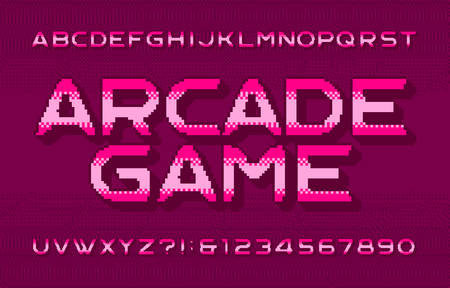 Arcade Game alphabet font. 3D pixel letters, numbers and symbols. Pixelated background. 80s video game typescript. Иллюстрация