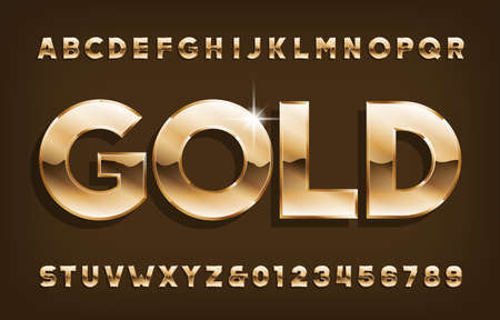 Gold alphabet font. Shining golden letters and numbers with shadow. Stock vector typescript for your design.