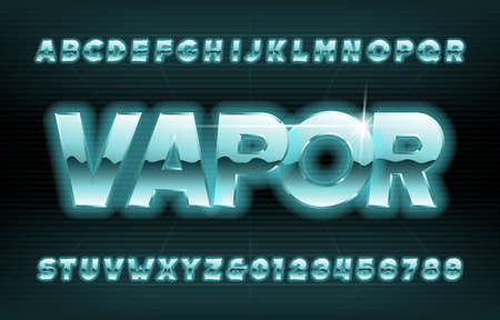 Vapor alphabet font. Glowing oblique letters and numbers in eighties style. Stock vector typescript for your typography design.