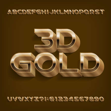 3D gold alphabet font. Golden letters and numbers with shadow. Stock vector typescript for your design. Иллюстрация