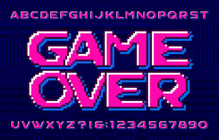 Game over alphabet font. Eighties style pixel letters, numbers and symbols. Pixel background. 80s arcade video game typescript.