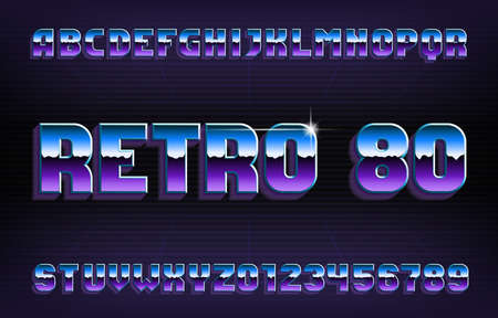 Retro 80 alphabet font. Glowing letters and numbers. Eighties style background. Stock vector typescript for your typography design. Иллюстрация