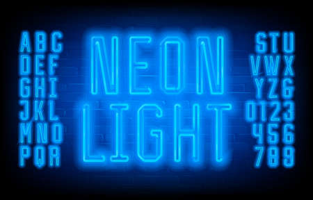Neon Light alphabet font. Geometric condensed letters, numbers and symbols on brick wall background. Stock vector typescript for your typography design.