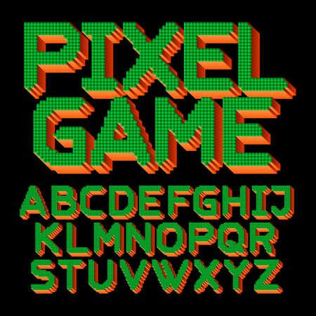 Pixel Game alphabet font. Digital 3d effect letters. 80s arcade video game typeface.