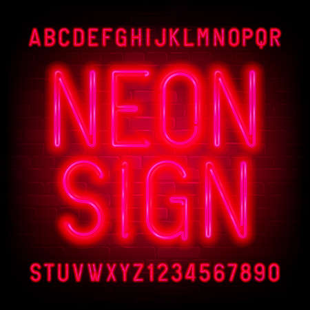 Neon Sign alphabet font. Red neon light condensed letters and numbers on brick wall background. Stock vector typescript for your typography design. Иллюстрация