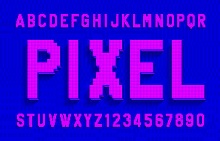Pixel alphabet font. Digital 3d effect letters and numbers with shadow. Pixel background. 80s arcade video game typescript.