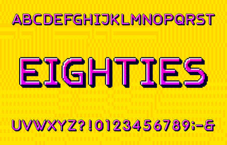 Eighties alphabet font. Pixel letters, numbers and symbols. Yellow Pixel background. 80s arcade video game typescript.