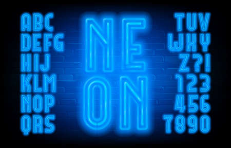 Neon alphabet font. Blue neon light letters and numbers in retro style. Brick wall background. Stock vector typescript for your typography design.
