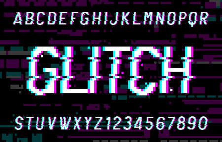 Glitch alphabet font. Pixel distorted letters and numbers. 80s arcade video game typescript. Иллюстрация
