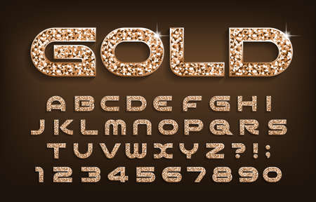 Gold alphabet font. Golden glitter modern letters and numbers with shadow. Stock vector typescript for your design. Vektorové ilustrace
