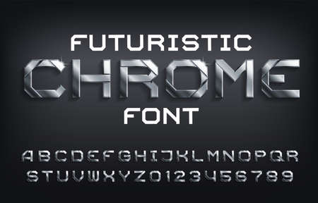 Carattere alfabeto futuristico Chrome. Lettere metalliche, numeri e simboli con ombra. Dattiloscritto vettoriali stock per il tuo design.