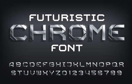 Futuristische Chrome-Alphabetschrift. Metallische Buchstaben, Zahlen und Symbole mit Schatten. Vektor-Typoskript auf Lager für Ihr Design.