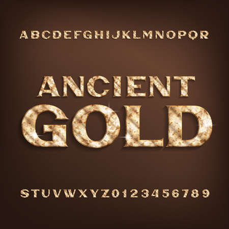 Ancient Gold alphabet font. Golden serif letters and numbers with shadow. Stock vector typescript for your design.